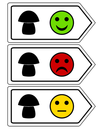 Direction sign for mushrooms with smileys