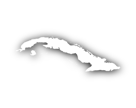 Map of Cuba with shadow