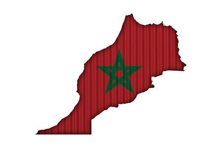 Map and flag of Morocco on corrugated iron Stock Photo