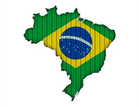 Map and flag of Brazil on corrugated iron Stock Photo