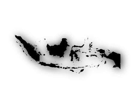 Kaart van Indonesië met schaduw Stock Illustratie