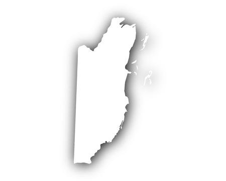 Kaart van Belize met schaduw