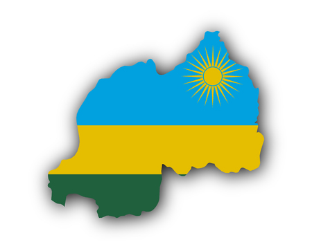 Map and flag of Rwanda Vectores