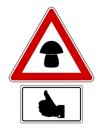 Attention sign with optional label thumbs up