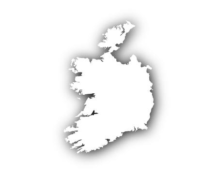 Kaart van Ierland met schaduw
