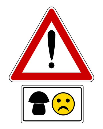 Attention sign with mushroom and smiley