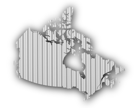 Map of Canada on corrugated iron