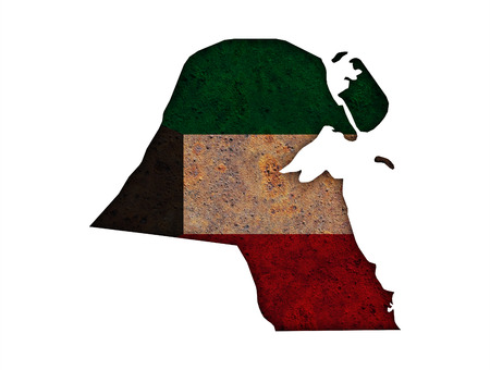 Map and flag of Kuwait on rusty metal