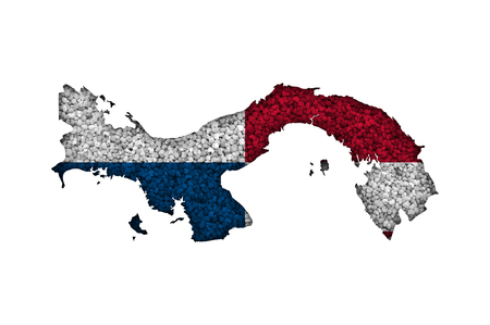 Map and flag of Panama on poppy seeds 스톡 콘텐츠
