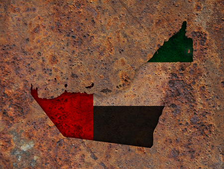 Map and flag of United Arab Emirates on rusty metal Stock Photo