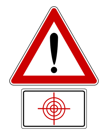 Traffic sign with exclamation mark and target isolated on a white background Illustration