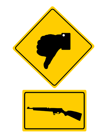 Traffic sign thumbs down for shooting isolated on a white background