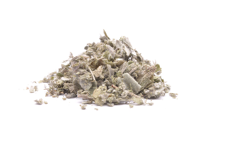 Dried common sage on white background