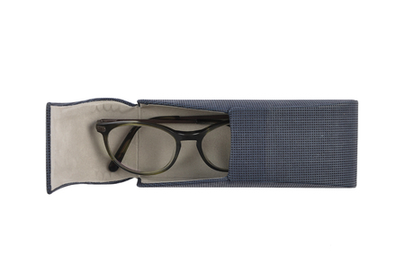 Spectacle case with glasses on white background