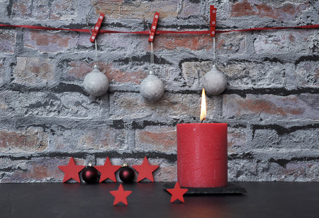 Christmas decoration in front of brick wall Stok Fotoğraf
