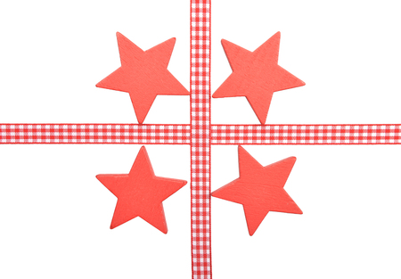 Stars with checked ribbon on white background