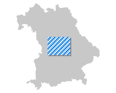 Bavarian flag and map