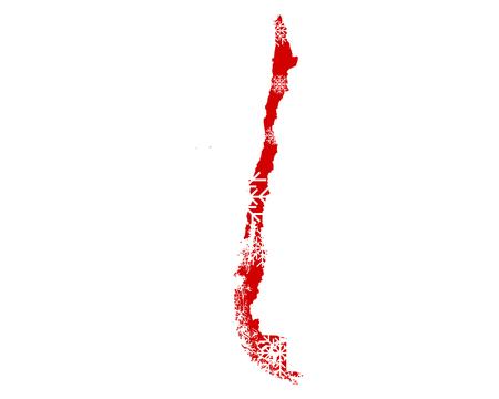 Map of Chile with snowflakes Illusztráció