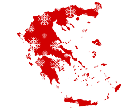 Map of Greece with snowflakes
