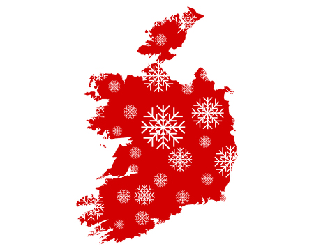 Map of Ireland with snowflakes Illustration