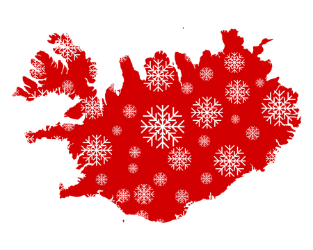 Map of Iceland with snowflakes