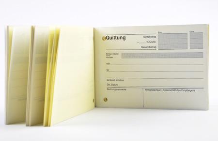 Recept book on white background Stockfoto