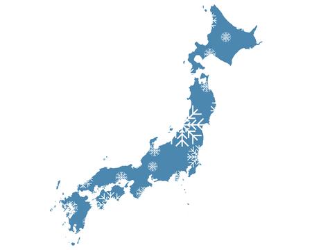Mapa de Japón con copos de nieve Ilustración de vector