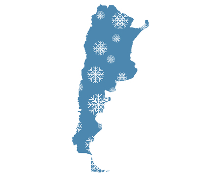 Map of Argentina with snowflakes
