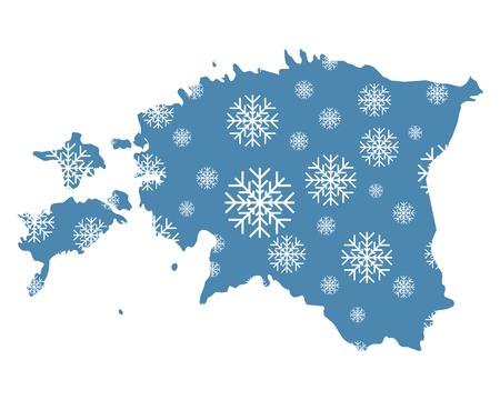 Map of Estonia with snowflakes