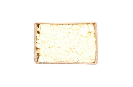 Lupin flour in carton on white background Stock Photo - 117914975