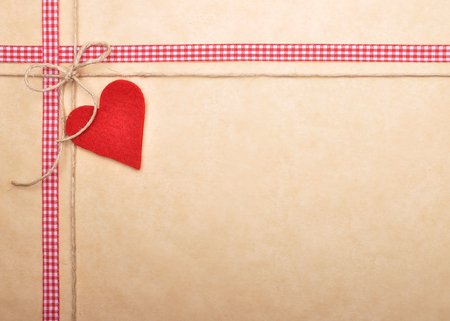 Background with ribbon and twine Stock Photo
