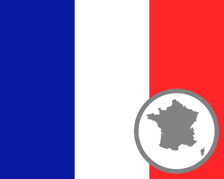 French flag and map Ilustracja