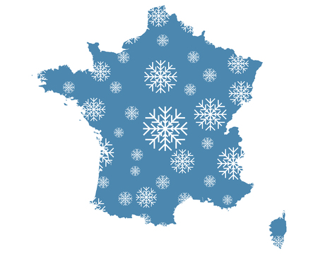 Map of France with snowflakes Ilustracja