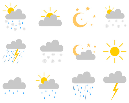 Icon set weather on white Çizim
