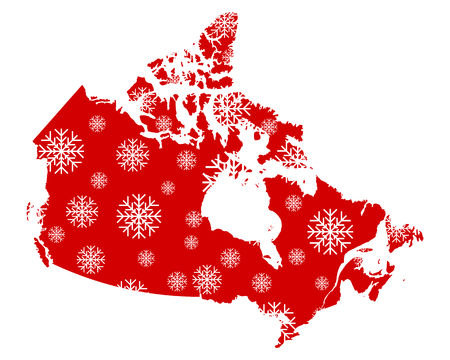 Map of Canada with snowflakes