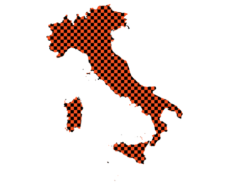 Map of Italy in checkerboard pattern
