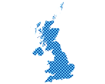 Map of Great Britain in checkerboard pattern