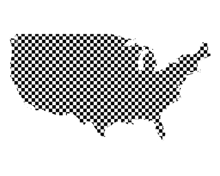 Map of the USA in checkerboard pattern Ilustração