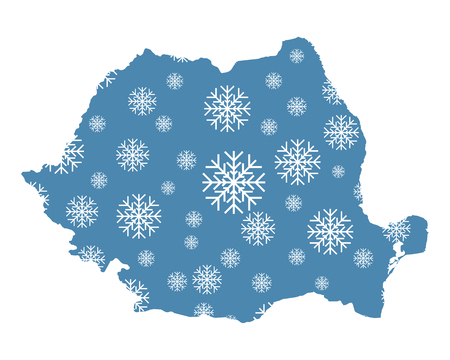 Map of Romania with snowflakes