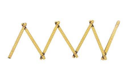 Zollstock auf weißem Hintergrund Standard-Bild