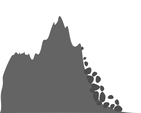 Mountains and falling rocks on white