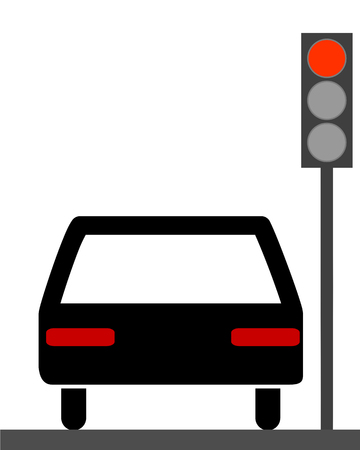 Car at red traffic lights Illustration