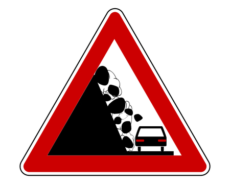Traffic sign warning debris avalanche