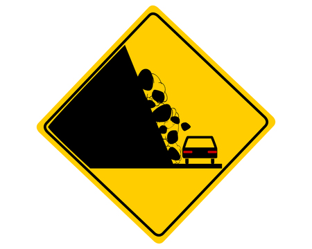 Traffic sign with car and falling rocks