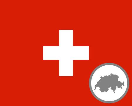 Flag of Switzerland and map Standard-Bild - 122189300