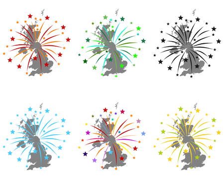 Map of Great Britain with fireworks Stock Photo