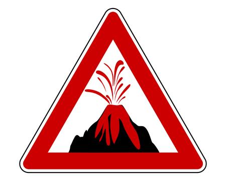 Traffic warning sign volcanic eruption