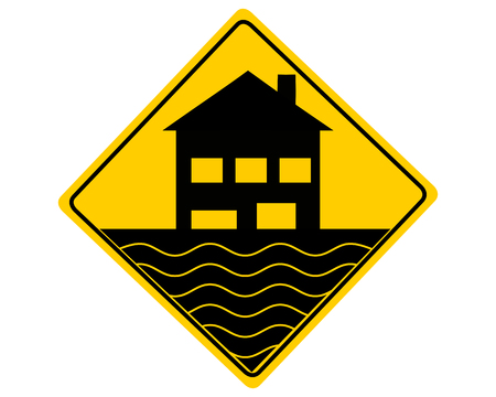Traffic warning sign flood on white 스톡 콘텐츠 - 122189510