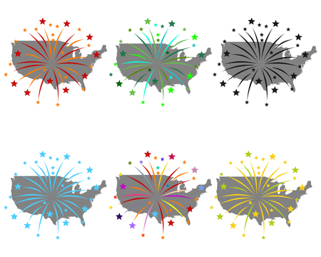 Map of USA with fireworks Stock Photo