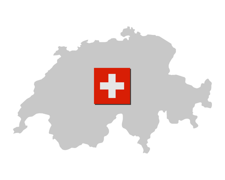 Flag of Switzerland and map Standard-Bild - 122189533